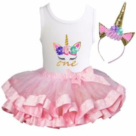 Unicorn verjaardagkleding roze, 1 t/m 5, lange/zonder mouw + eenhoorn diadeem  (3 delig)