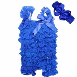 Baby Jumpsuit kant Kobalt Blauw + haarband