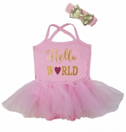 Babyjurk tutu roze Hello World + haarband