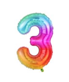 Folie Ballon cijfer 3 - regenboog
