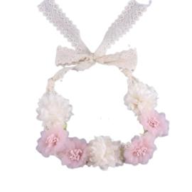 Haarband bloemen roze/wit