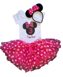 Minnie Mouse verjaardagset pink 3 jaar (3-delig) + NAAM