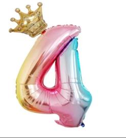Folie Ballon met kroon + cijfer 4 - regenboog