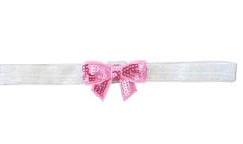 Haarband strik klein, zilver/roze