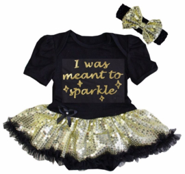 Babyjurk I Was Meant To Be Sparkle goud glitter + haarband