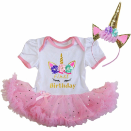 Unicorn verjaardag babyjurk First Birthday