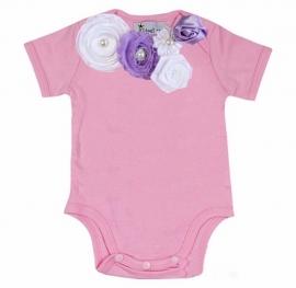 Baby shirt roze/wit/violet tulip
