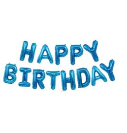 Happy Birthday blauw - 40 cm hoog per letter