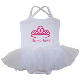 Babyjurk tutu wit kroon + Eigen naam