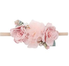 Haarband bloemen Dusty pink