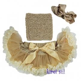 Pettiskirt + gehaakte top + haarband Gold