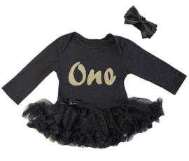 Baby  jurk zwart One + haarband, lange/korte mouw