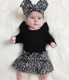 Luipaard print set rok + haarband