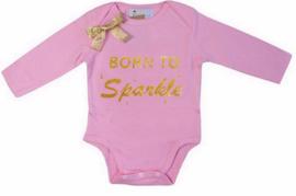 Born To Sparkle lang/korte mouw roze