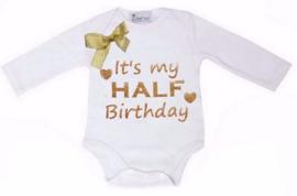 It's My Half Birthday lang/korte mouw wit