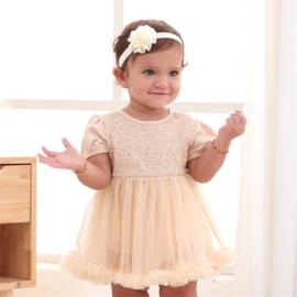 Baby feestjurk khaki-nude