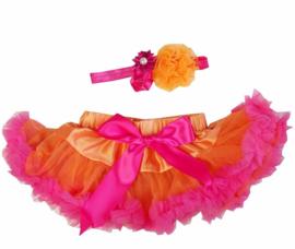 Pettiskirt Oranje/Pink + haarband