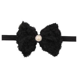 Haarband strik roosjes zwart met parel