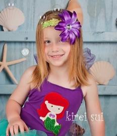 Haarband glitter groen paarse bloem