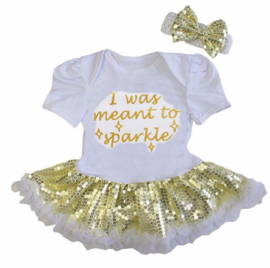 Babyjurk I Was Meant To Sparkle goud glitter + haarband