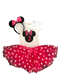 Minnie Mouse verjaardagset pink 3 jaar (3-delig)