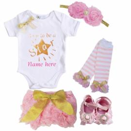Born To Be A Star set roze + eigen naam (5-delig)