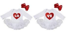 Tweeling jurken wit LOVE longsleeve + haarbanden