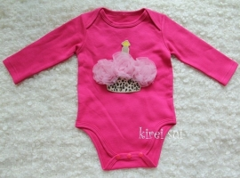 Baby romper pink Cupcake luipaard roze rozetten lange mouw