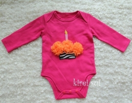 Baby romper pink Cupcake zebra oranje lange mouw