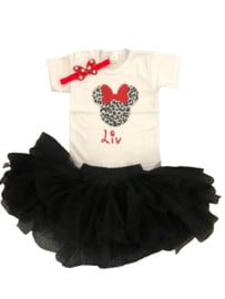 Minnie Mouse set luipaard rood, (3-delig)