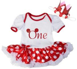 Minnie Mouse verjaardag babyjurk ONE