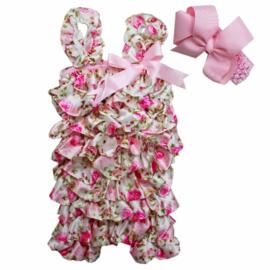 Baby Jumpsuit Romantisch Roze + haarband