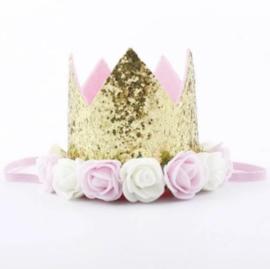 Haarband kroon goud glitter