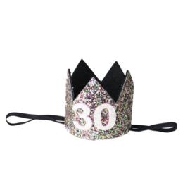Haarband kroon 30 jaar rainbow glitter