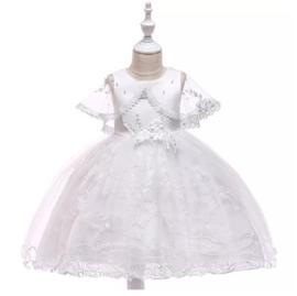 Witte jurk met kant en bolero (98-104 en 110-116)