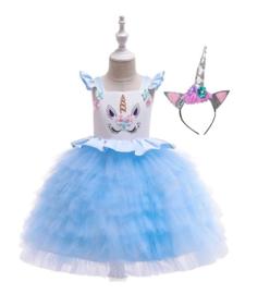 Unicorn jurk BLAUW rouches + diadeem