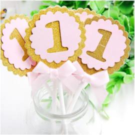 Cake toppers 1 jaar roze (10 stuks)