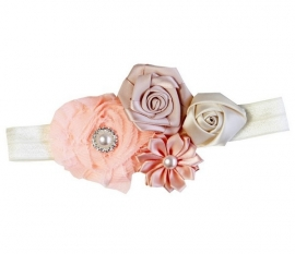 Haarband blosjesroze/perzik/ivoor luxe