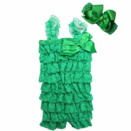 Baby Jumpsuit kant Groen + haarband