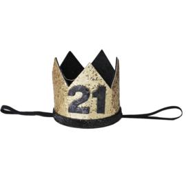 Haarband kroon 21 jaar goud