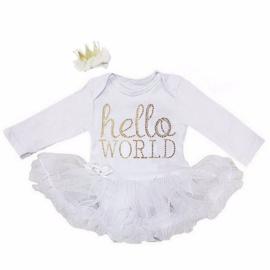 Babyjurk Hello World wit + haarclip kroon