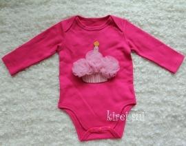 Baby romper pink Cupcake roze lange mouw