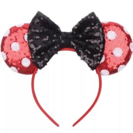 Minnie Mouse glitter diadeem rood met stippen *