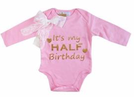 It's My Half Birthday lang/korte mouw roze