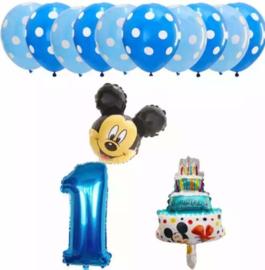 Mickey Mouse ballonnen 1 jaar (13-delig)