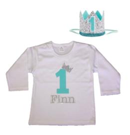 Shirt jongen getal 1 mint-zilver met naam + kroon