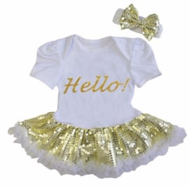 Babyjurk Hello! goud glitter + haarband
