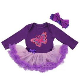 Babyjurk vlinder paars lang/korte mouw + haarband