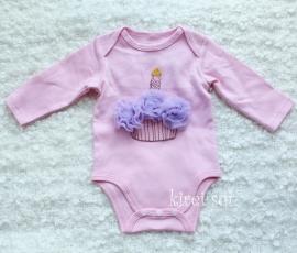Baby romper roze Cupcake lavendel lange mouw