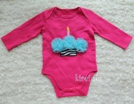 Baby romper pink Cupcake zebra aqua lange mouw